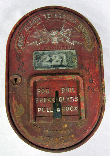 Gamewell Fire Alarm Telegraph Company http://www.ebay.com/itm/Vintage-Gamewell-Co-Fire-Alarm-Telegraph-Station-221-Pull-Hook-Break-Glass-/251155691146
